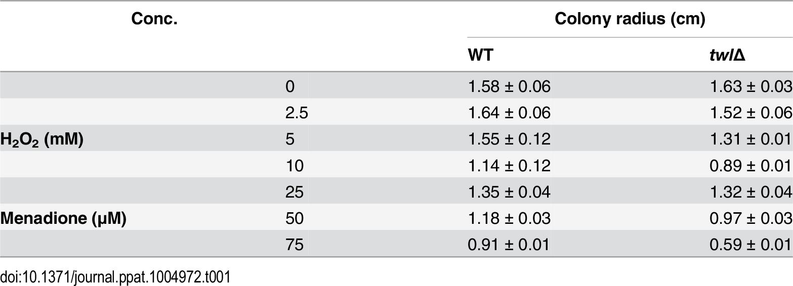 <i>twl</i>∆ shows increased sensitivity to oxidative stress.