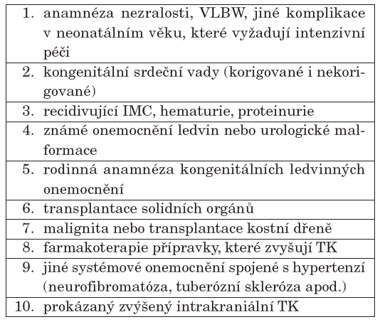 Indikace příležitostného měření TK u dětí do 3 let [34].