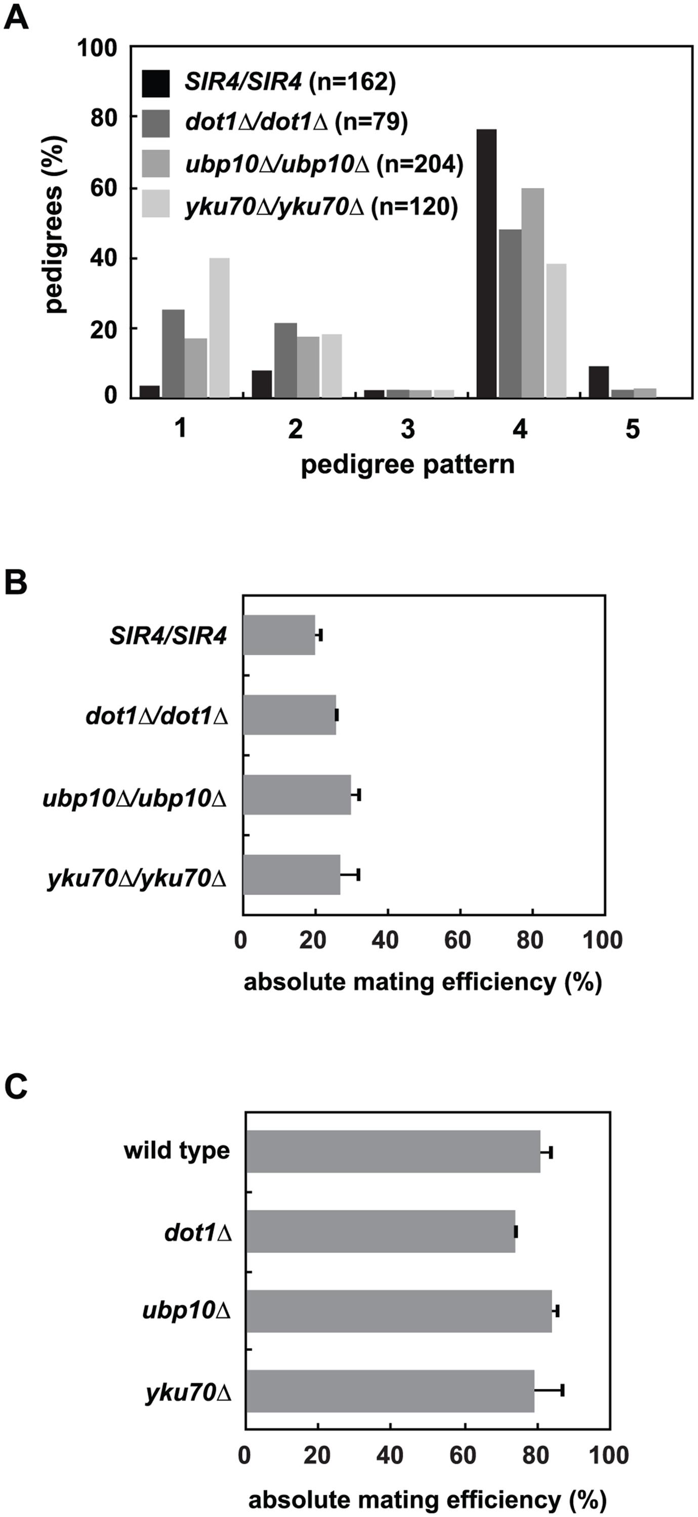 Mutation of <i>UBP10</i> and <i>YKU70</i> accelerate <i>de novo</i> establishment of heterochromatin.