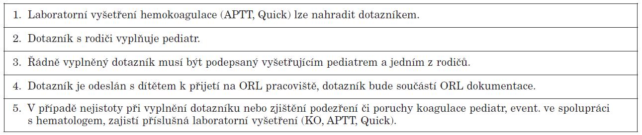 Doporučený postup u dětí ASA 1-2.