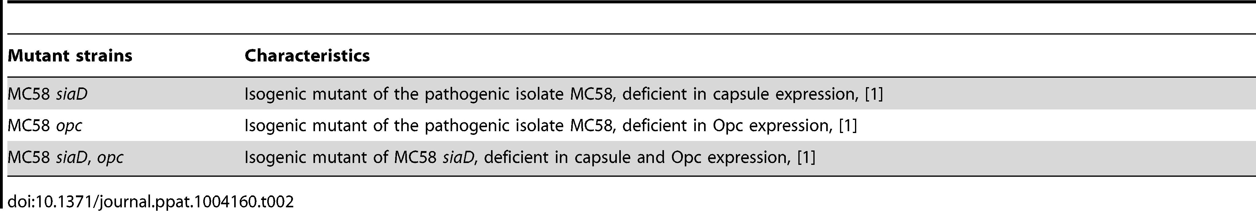 List of <i>N. meningitidis</i> mutant strains used in this study.