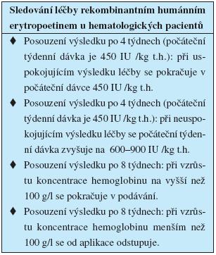 Sledování léčby rekombinantním humánním erytropoetinem