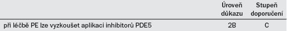 Dop. 7. Doporučení pro využití inhibitorů PDE5 v rámci léčby PE.