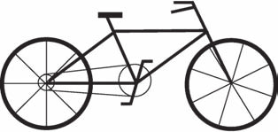 Kresba jízdního kola hodnocená plným počtem bodů v obou skórovacích systémech. Převzato z [13]. Fig. 1. A full-score bicycle drawing.