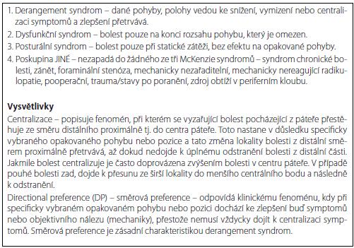 Příloha 2. Předběžná MDT klasifikace dle funkčního vyšetření.