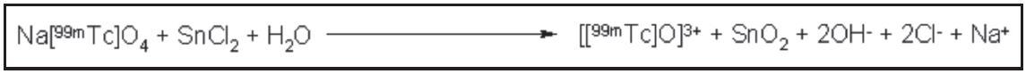 Reakce vzniku oxo[<sup>99m</sup>Tc]technecia(V) vroztoku.