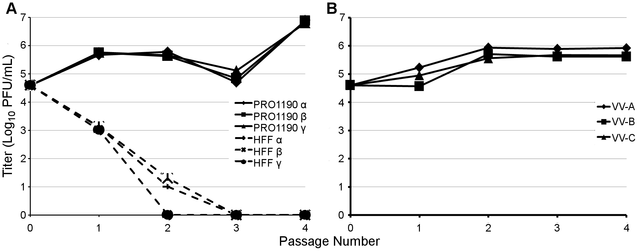 PRO1190-adapted viruses, but not VVΔEΔK+RhTRS1, stably replicate in HFF.