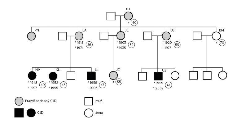 Genealogický strom rodiny s diagnózou CJD z Novojičínska Fig. 2. Genealogical tree of the family where the CJD cases were reported, Nový Jičín district, 2001–2011w