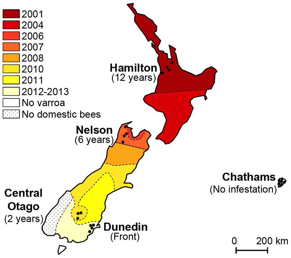 Map illustrating the spread of <i>Varroa</i> across New Zealand and the location of sampling sites.