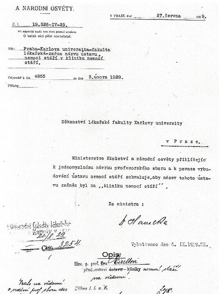1929 – Souhlas MŠ a NO k ke změně názvu Ústavu a ustavení kliniky nemocí stáří