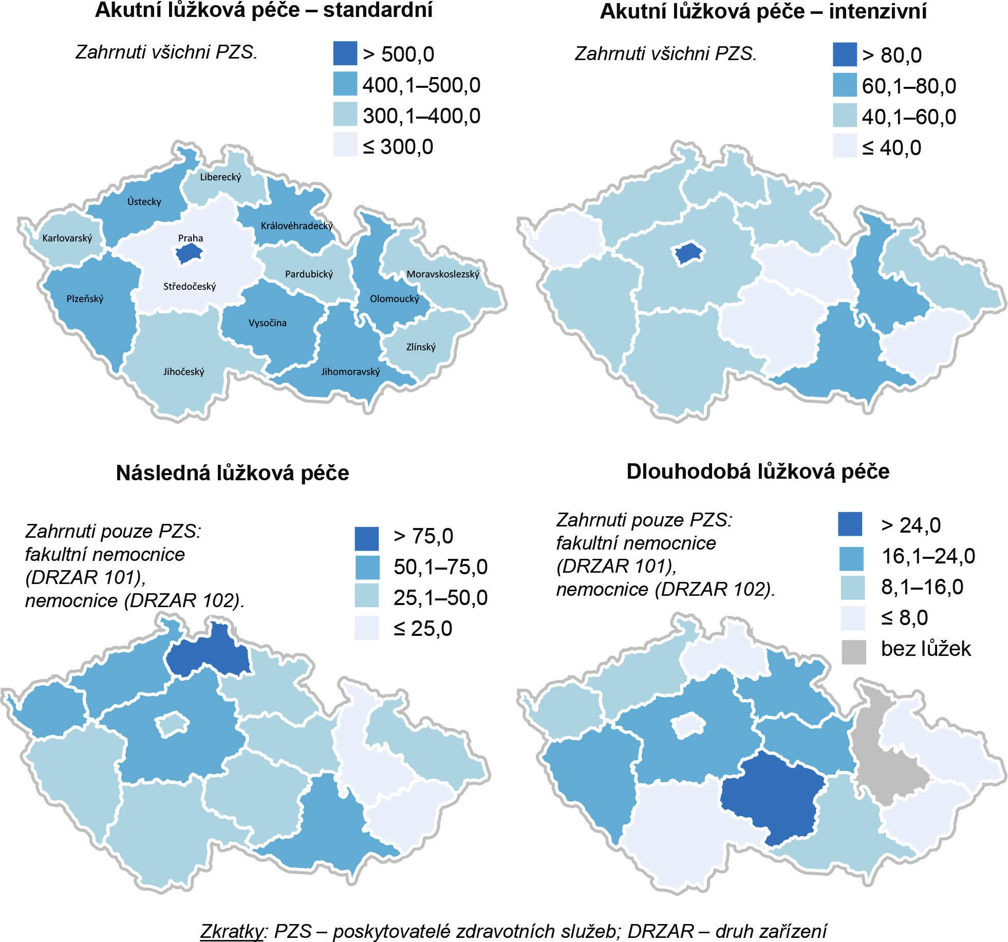 Počet lůžek na 100 000 obyvatel v krajích České republiky v roce 2015