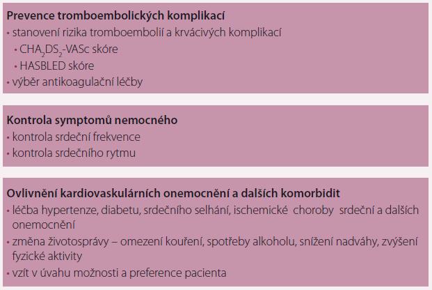 Základní principy léčby pacientů s fibrilací síní.