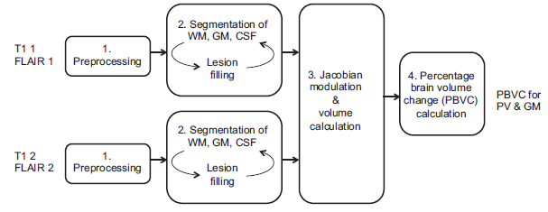 Schematic representation of MSmetrix, where the T1 and FLAIR of the two scan sessions that need to be compared are first preprocessed. Based on the preprocessed images, the segmentation of WM, GM and CSF is performed together with lesion filling in the second step. The third step is to calculate the volumes and perform the Jacobian modulation and only in the fourth step the actual PBVC is obtained.