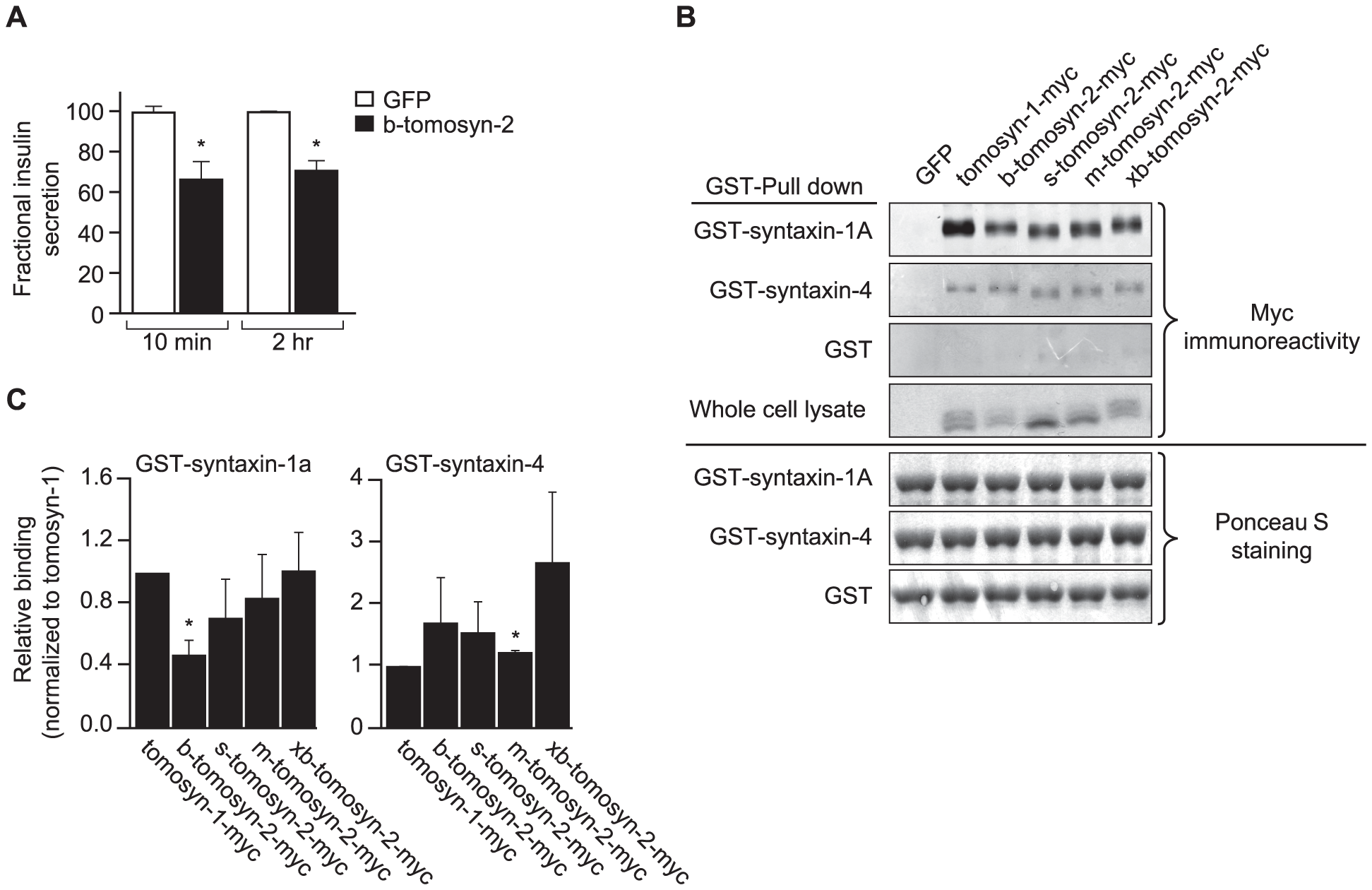 Overexpression of tomosyn-2 inhibits insulin secretion in INS1 (832/13) cells and binds syntaxin-1A and -4.