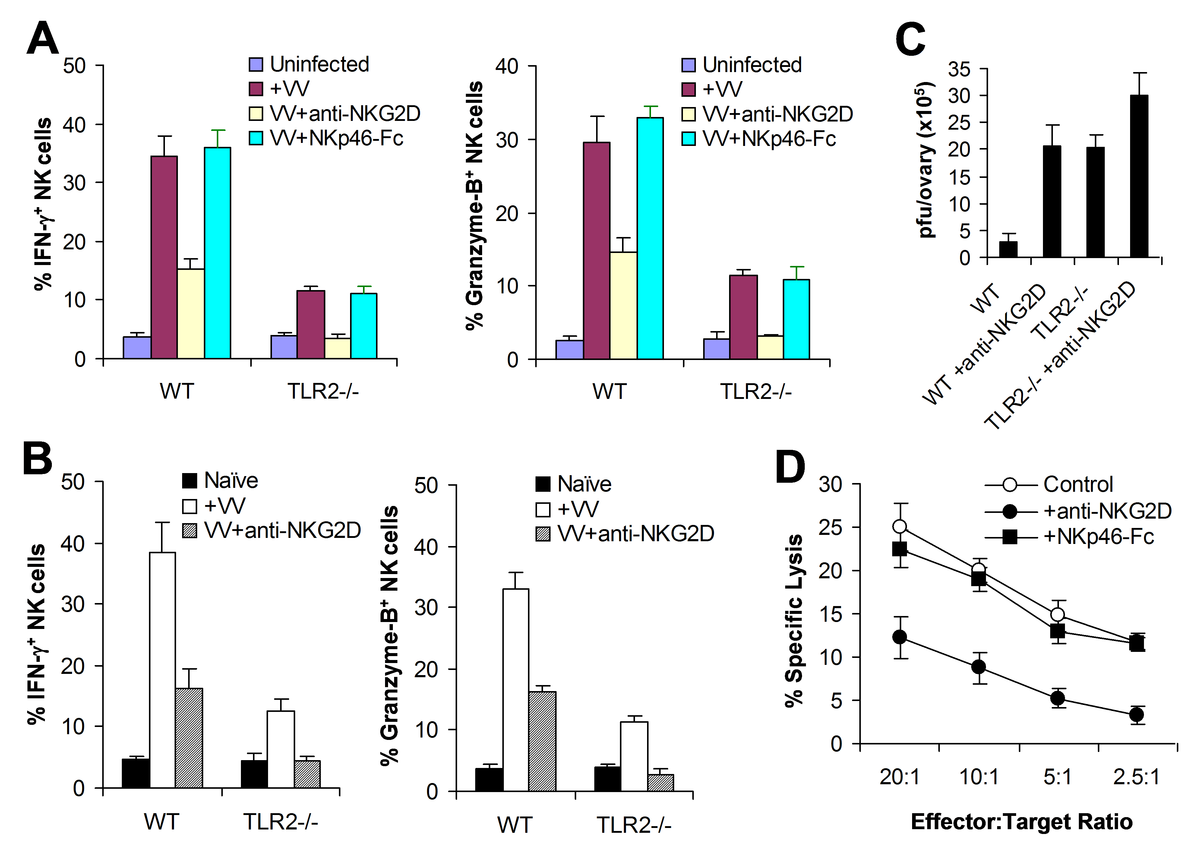 The NKG2D pathway is required for efficient NK activation and function in response to VV infection.