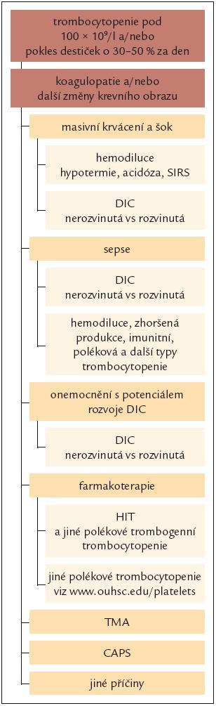 Schéma 2. Diferenciální diagnostika trombocytopenie kriticky nemocných pacientů.