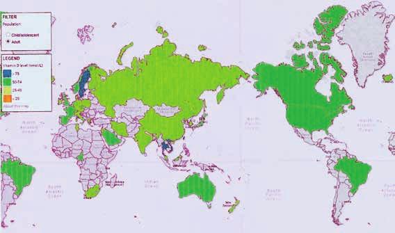 Mapa WHO ve spolupráci s International Osteoporosis Foundation s vyznačením stavu vitaminu D [25(OH)D<sub>3</sub>] ve světě u dospělých (2012)