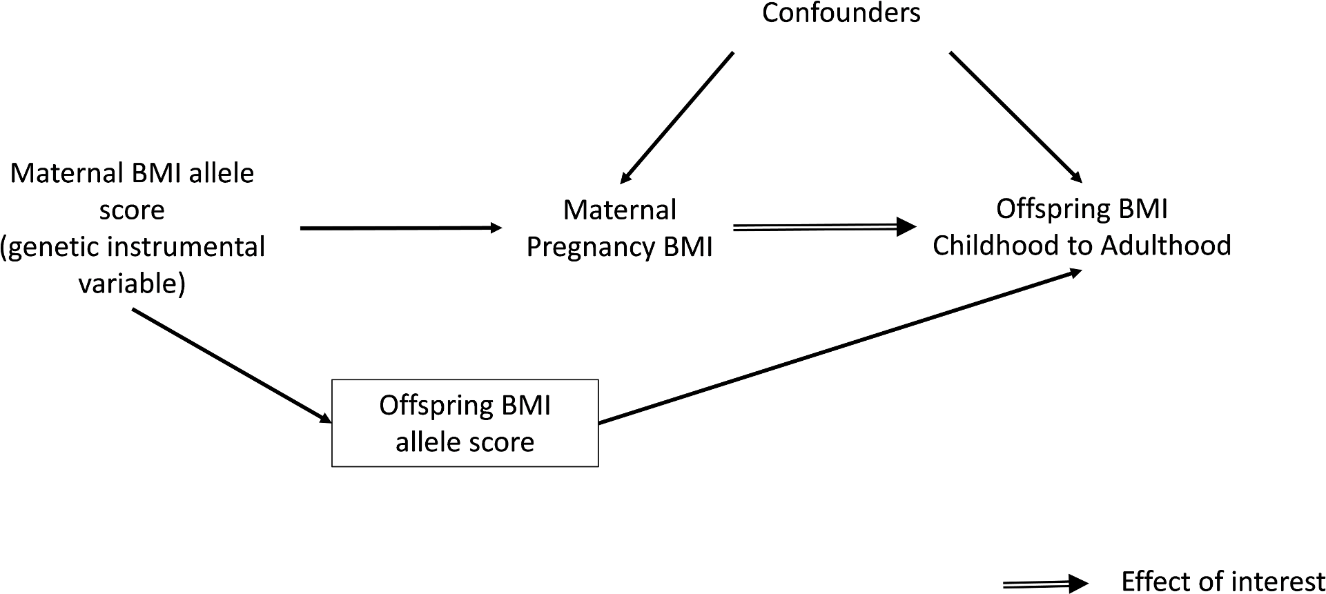 Intergenerational MR analysis to investigate a causal intrauterine effect of maternal BMI on offspring adiposity.
