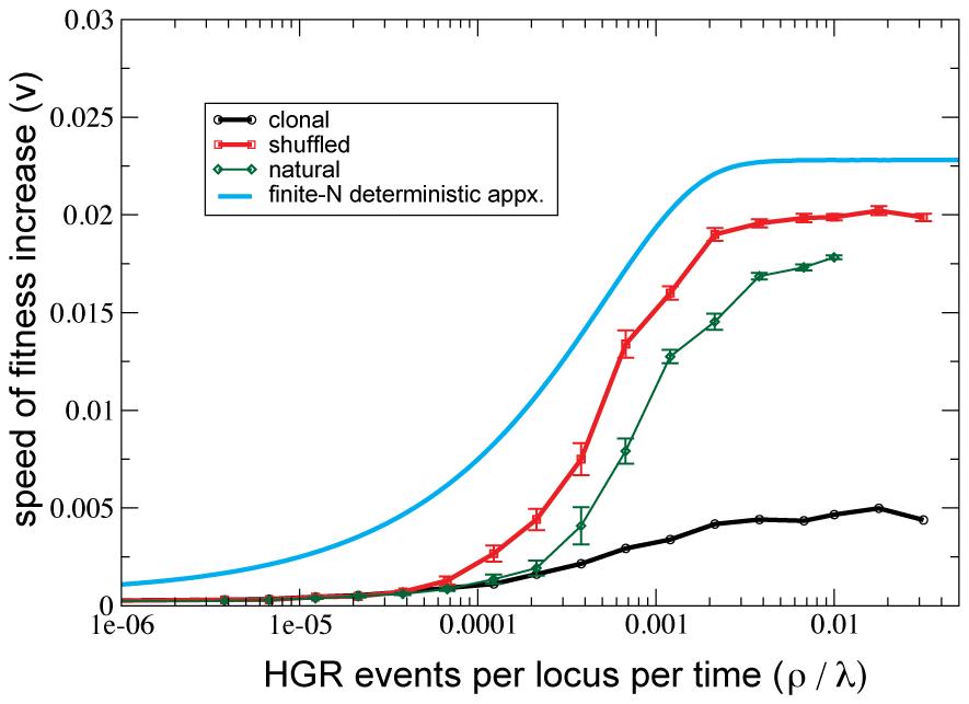 HGR accelerates adaptive evolution (i.e. positive selection) on a smooth fitness landscape.