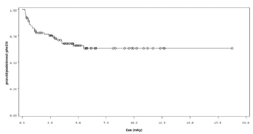 Přežití bez recidivy v rámci celého souboru 92 pacientů