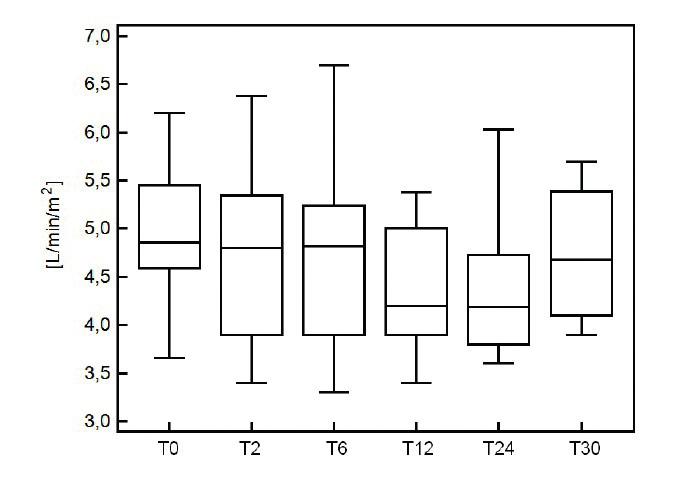 Srdeční výdej během jednotlivých měření aplikace esmololu T0 – před začátkem infuze, T2 – 2 hod. po zahájení infuze, T6 – 6 hod. od zahájení infuze, T12 – 12 hod. od zahájení infuze, T24 – čas ukončení infuze, T30 – 6 hod po ukončení infuze esmololu  (podle [47])