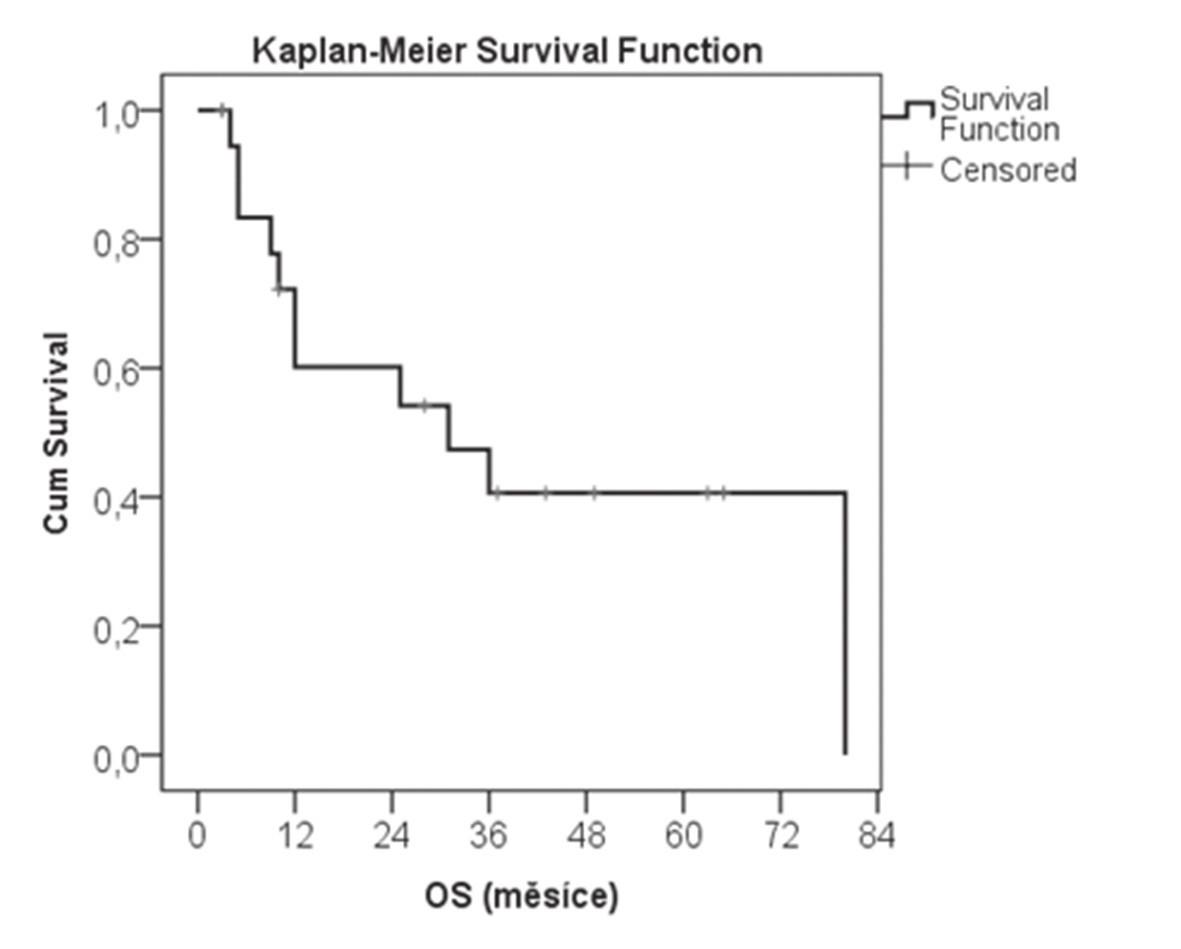 Kaplan-Meierova křivka přežívání souboru nemocný s adenokarcinomem GEJ, u kterých byla provedena proximální gastrektomie Graph 1: Kaplan-Meier curve showing the survival of patients with adenocarcinoma of the GEJ undergoing proximal gastrectomy
