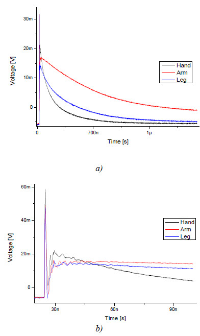 Fig. 8 Transmitted waves measured by biosignal electrode at three different positions (a) and detail (b)