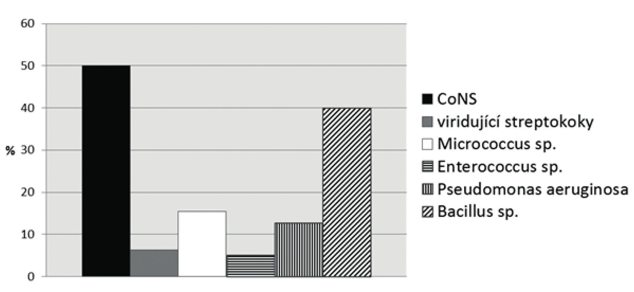 Procentuální zastoupení prokázaných mikrobů v prostorech ortodontické ambulance Fig. 1 Percentage distribution of the microbes detected in dental offices