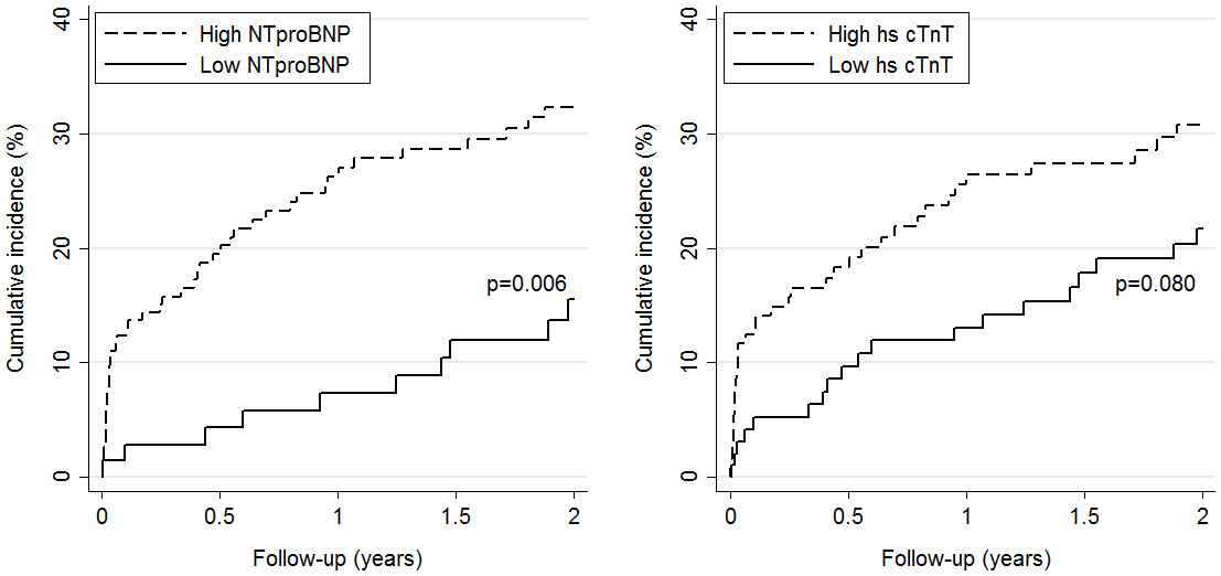 Cumulative incidence of PE-related complications by level of NT-proBNP (left panel) and hscTnT (right panel). High versus low levels are based on pre-specified cut-offs (>300 pg/mL for NT-proBNP and >14 ng/L for hs-cTnT).