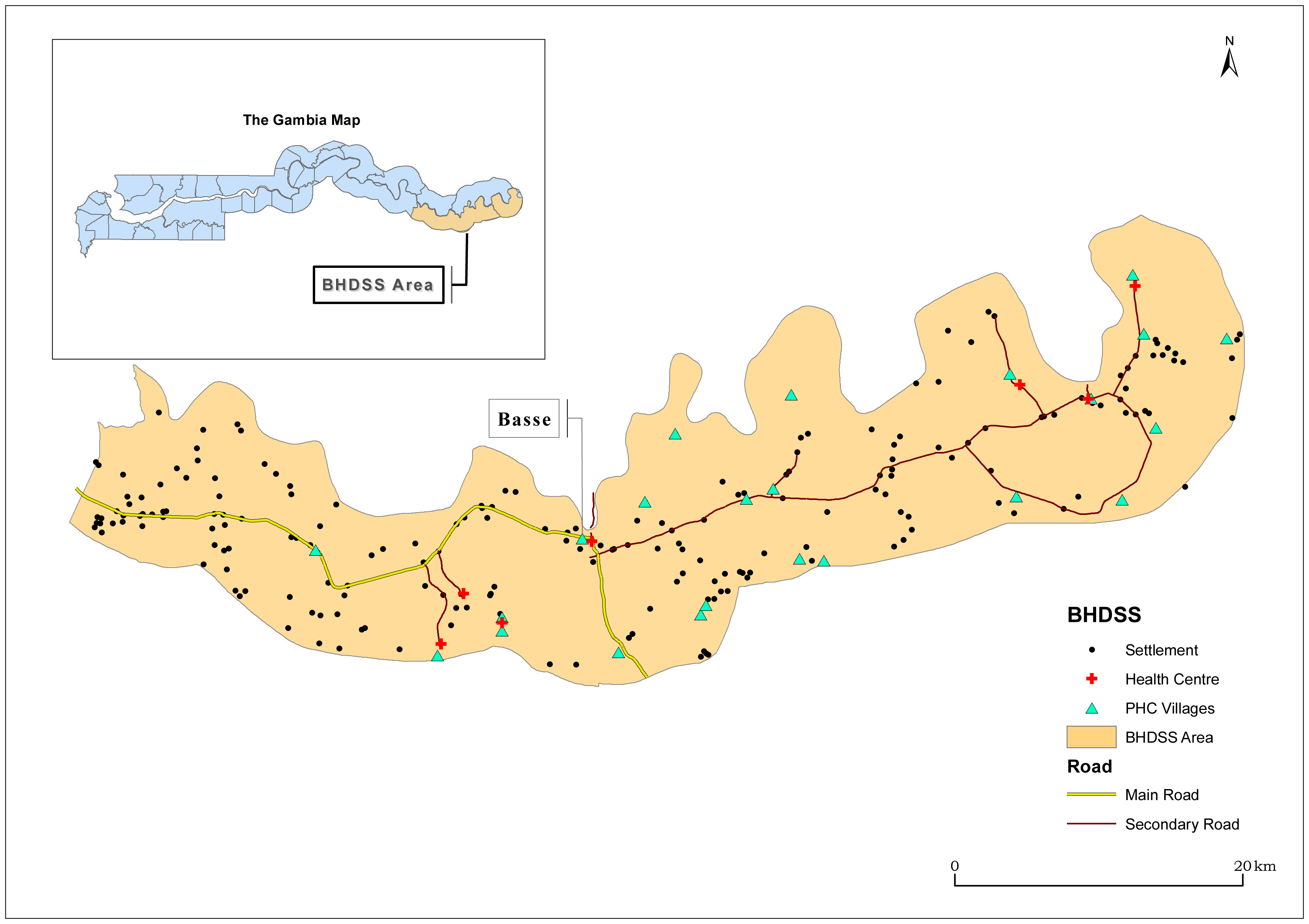 Map of catchment area for the surveillance system in The Gambia, including settlements, primary health care (PHC), and other health facilities.