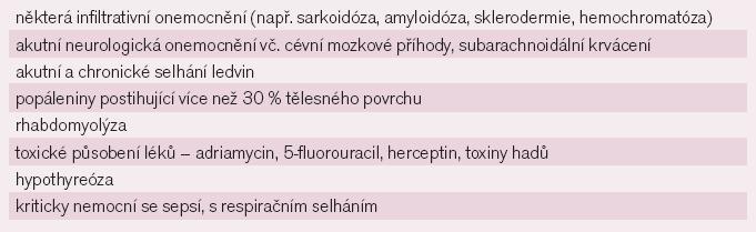 Nekardiální onemocnění s možným zvýšením troponinů [4].
