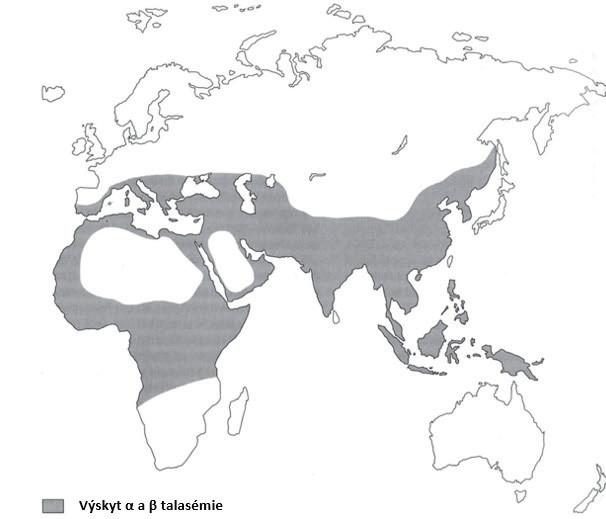 Světová distribuce talasémie. Nejvíce postižené oblasti tvoří tzv. talasemický pás, který zahrnuje oblasti Středomoří, zemí Blízkého východu, Indie, jihovýchodní Asie a severní Afriky. Převzato a upraveno [2]. Fig. 1. World distribution of thalassemia. The most affected areas form the so-called thalassemic belt, which includes the Mediterranean, the Middle East, India, Southeast Asia and North Africa. Adapted by [2].
