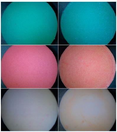 Povrch vzorků alginátových otiskovacích hmot separovaných od sádrových modelů, vlevo kontrolní vzorky a vpravo zkušební vzorky po dezinfekci v přípravku Dentaclean Form; nahoře – otiskovací hmota Ypeen, uprostřed – otiskovací hmota Alligat fast set, dole – otiskovací hmota Elastic Cromo; zvětšení 6,3x