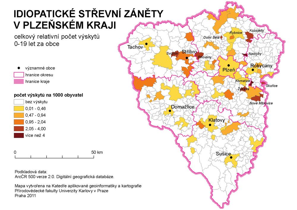 Celkový relativní počet výskytů idiopatických střevních zánětů (IBD) v obcích Plzeňského kraje (PLK) u dětí do 19 let.