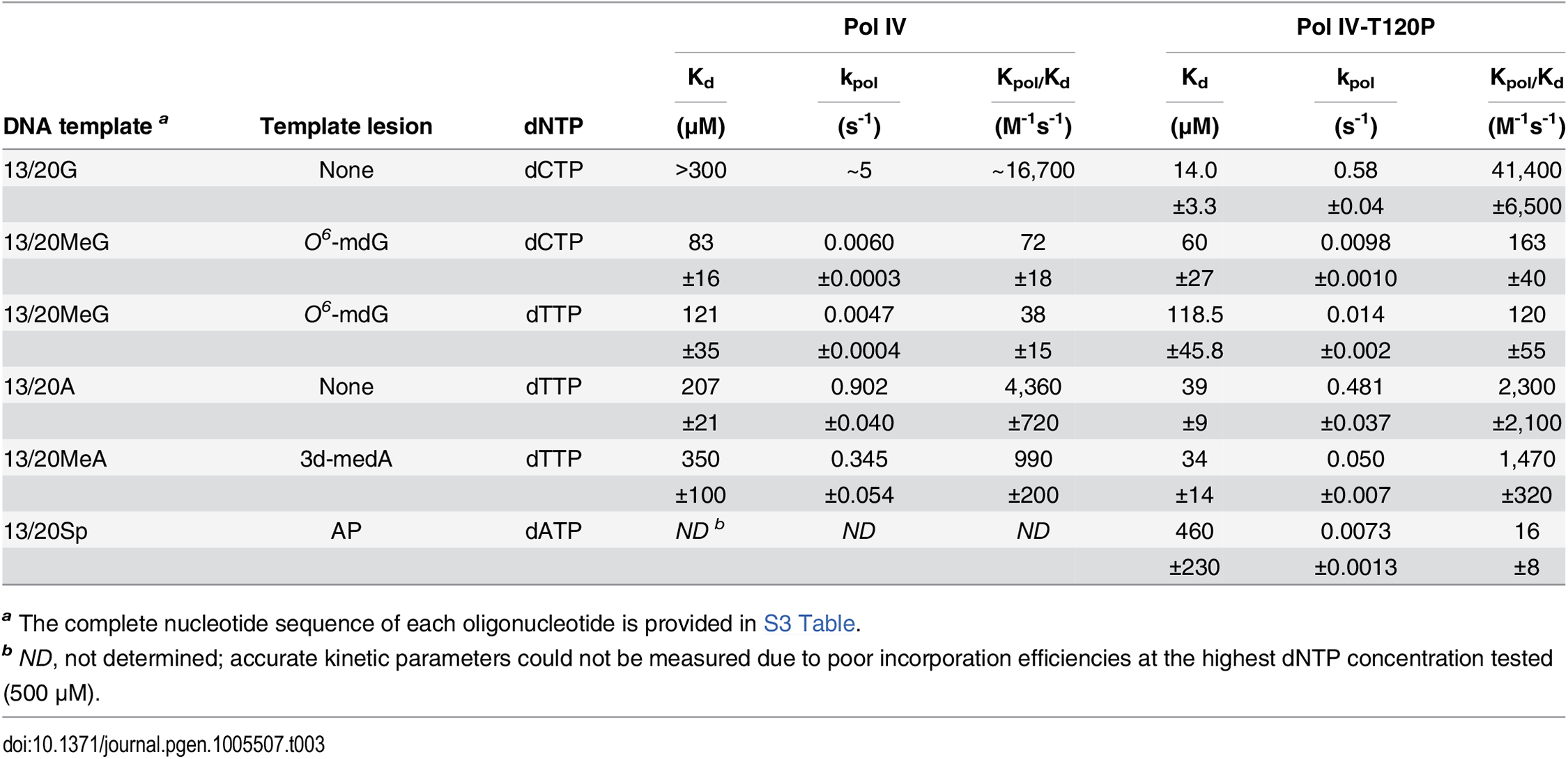 Kinetic constants for wild type Pol IV and Pol IV-T120P nucleotide incorporation.