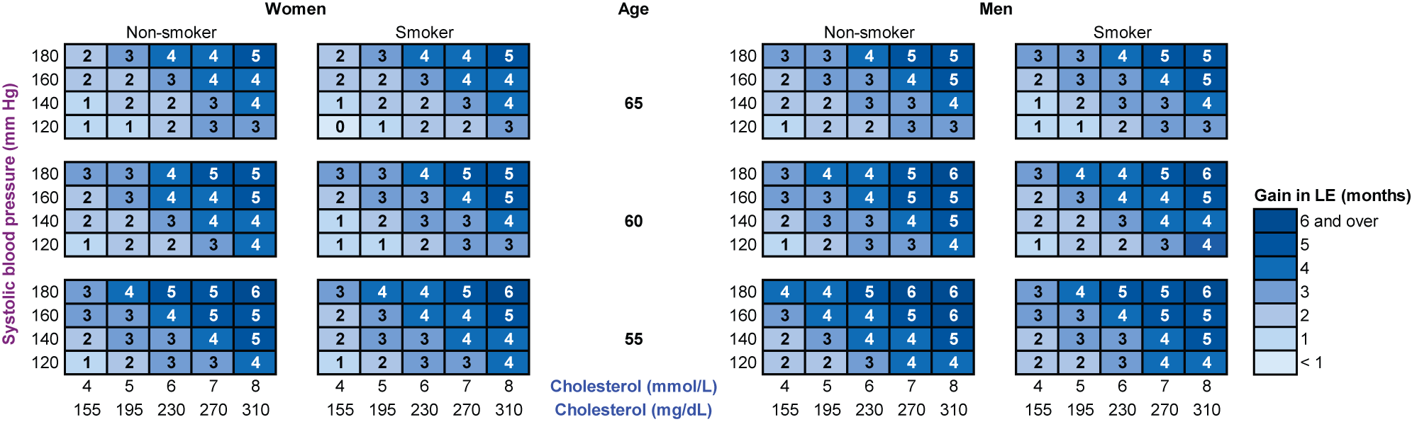 The gain in life expectancy (in months) with statin therapy, calculated with the RISC model.
