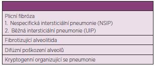 Formy intersticiálního plicního onemocnění při systémové sklerodermii (upraveno dle Veeraraghavana a spol.) (51).