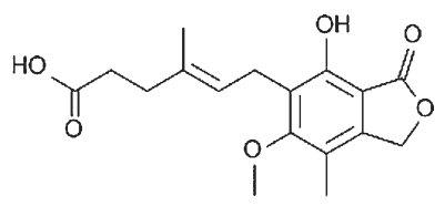 Strukturní vzorec kyseliny mykofenolové.