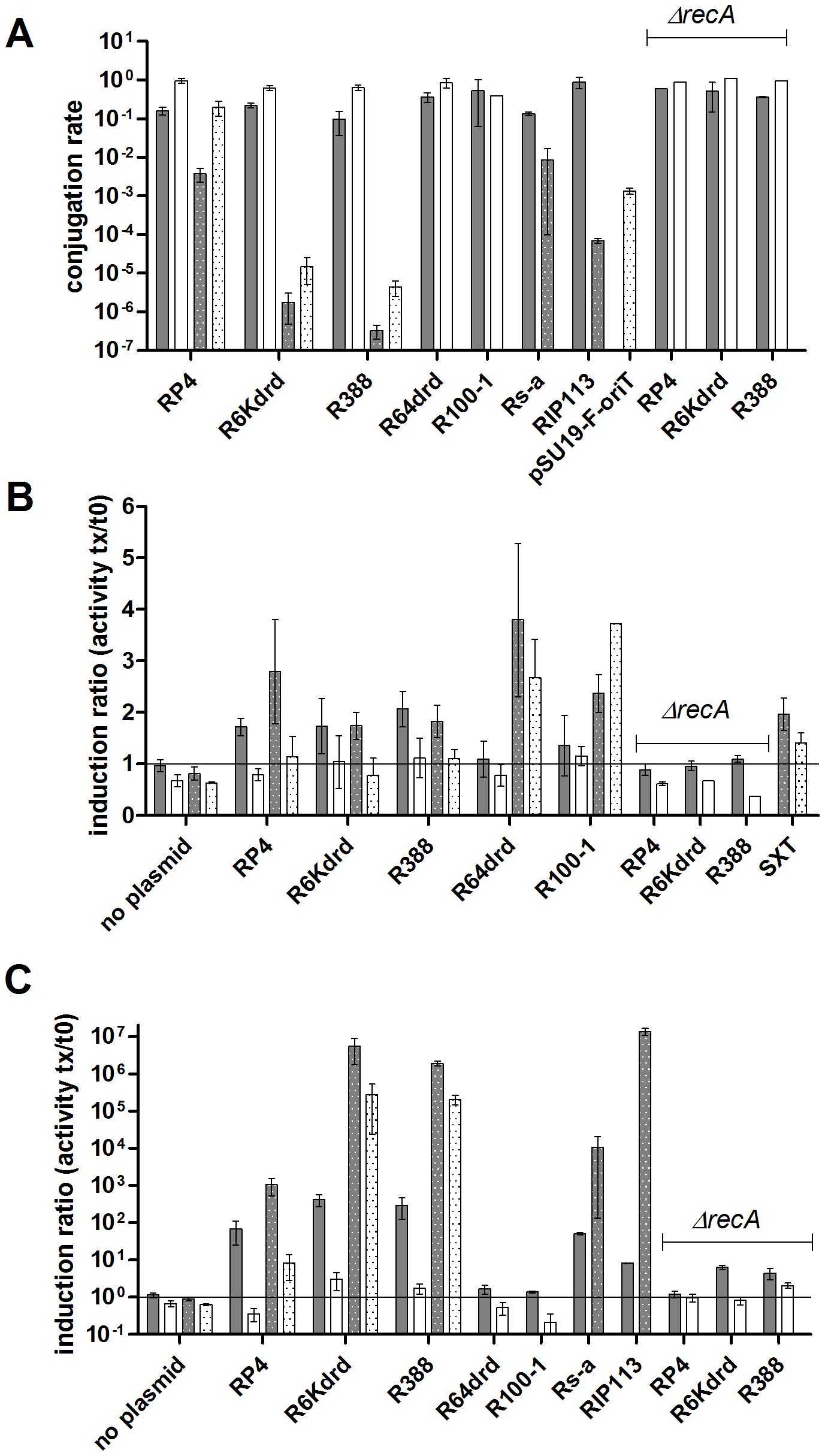 Conjugation induces SOS in <i>E. coli</i> and <i>V. cholerae</i>.