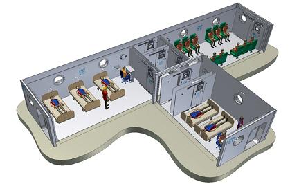 Schematické zobrazení hyperbarického zařízení v Univerzitní nemocnici v Lille