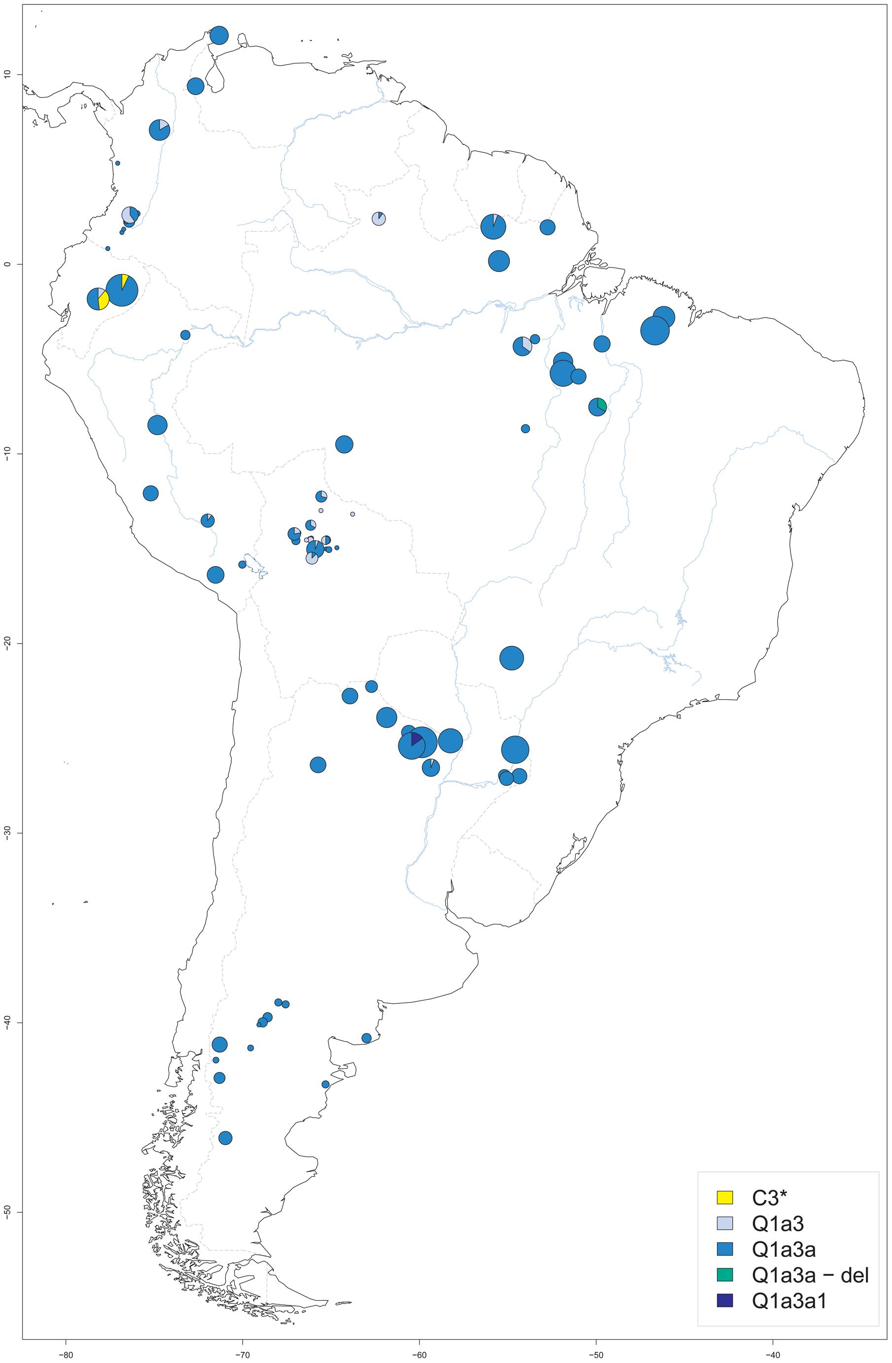Origin of male native South American samples.