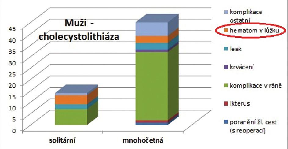 Vztah mezi diagnózou a případným hematomem v lůžku žlučníku  Hematom v lůžku žlučníku u mužů se solitární cholecystolitiázou byl 4,74krát častější než u mužů s mnohočetnou cholecystolitiázou. Graph 1: Relation between the diagnosis and a possible hematoma in liver bed Men with solitary cholecystolithiasis had a 4.74 times more common incidence of a hematoma in the gallbladder bed compared to men with multiple cholecystolithiasis.