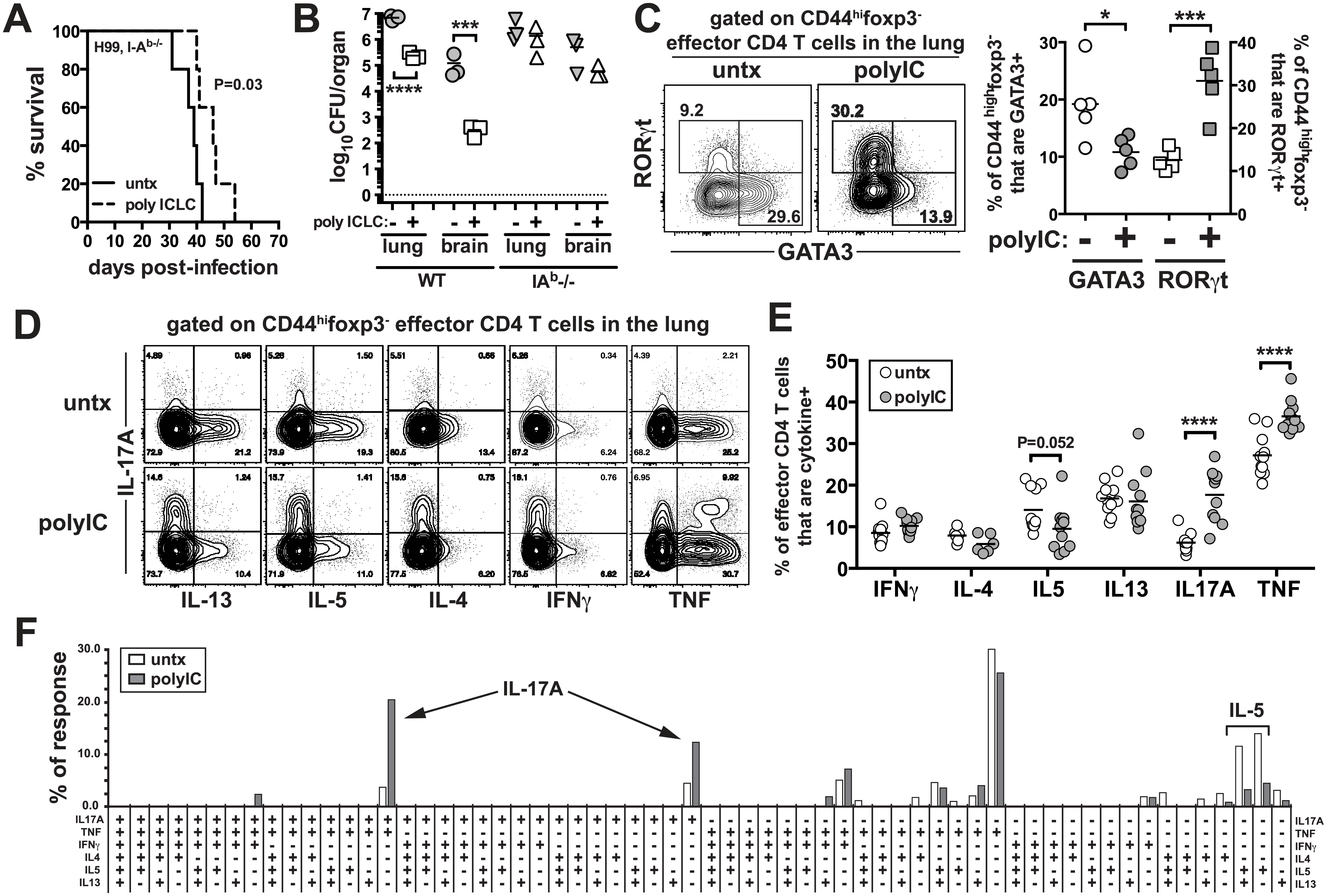 PICLC treatments enhances Th17 responses in <i>C</i>. <i>neoformans</i> infected mice.