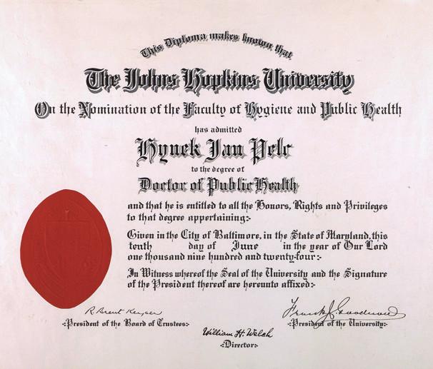 "John Hopkins University of Baltimore uděluje H. J. Pelcovi titul ""Doctor of Public Health"" v roce 1924"