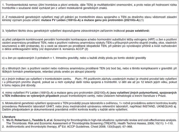 Molekulárně genetická vyšetření u trombofilních stavů spojených s žilním tromboembolismem a jeho komplikacemi (Konsenzus České společnosti pro trombózu a hemostázu ČLS JEP, Společnosti pro lékařskou genetiku ČLS JEP a České hematologické společnosti ČL JEP)