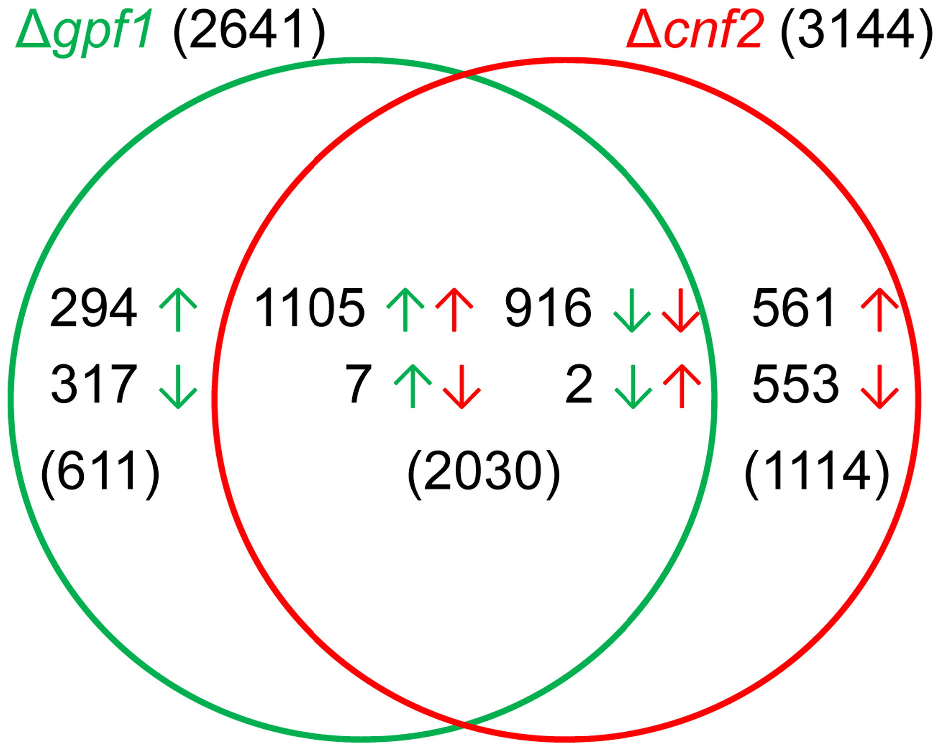 Comparison of differentially expressed genes between Δ<i>gpf1</i> and Δ<i>cnf2</i>.