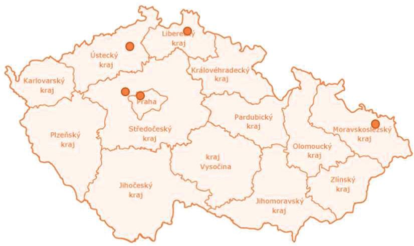 """Centra hyberbarické medicíny umožňující 24hodinové poskytování péče pro kriticky nemocné (zdroj: upraveno dle originálu <a href=""""http://www.eu2009.cz/images/design/map-cz-cs.gif"""">http://www.eu2009.cz/images/design/map-cz-cs.gif</a>)"""