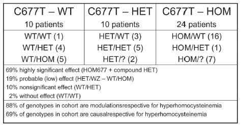 Fig. 2. Distribution of genotypes of MTHFR in heterozygotes (HET), homozygotes (HOM) and in healthies (WILD) in cohort of 44 patients with mHHC.