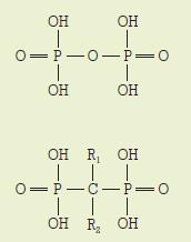 Chemická struktura bisfosfonátů.
