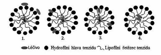 Možnosti inkorporace léčiva do micel tenzidu<sup>14)</sup>